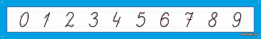 лента цифр, прописные цифры, пиши правильно, стенды в начальную школу, стенд в начальные классы