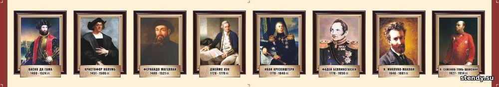 стенд в кабинет истории, стенд в класс истории, стенд портреты великих путешественников