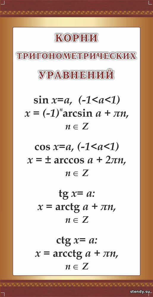стенд в кабинет математики, стенд в кабинет алгебры и геометрии, стенд корни тригонометрических уравнений
