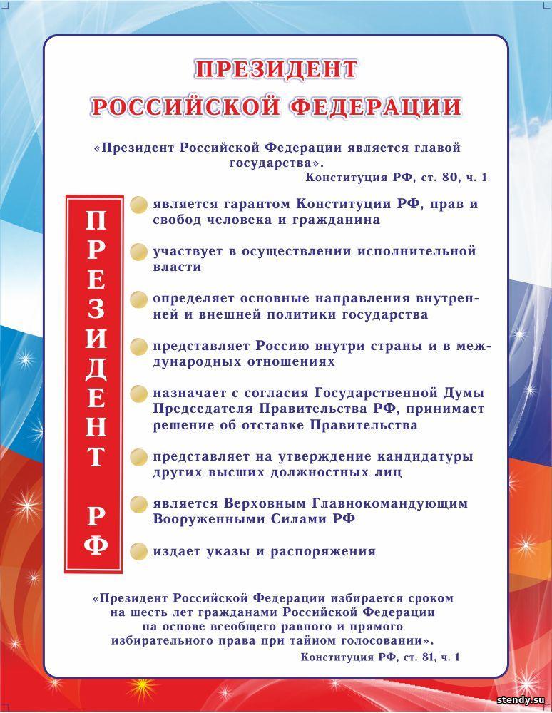 стенд в кабинет обществознания, президент российской федерации